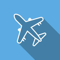 airplane icon with long shadow