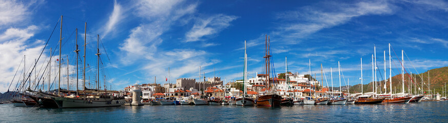 Marmaris city with fortress and marina, view from sea, Turkey