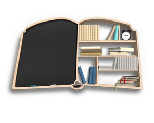 Blackboard and bookshelf in book shape