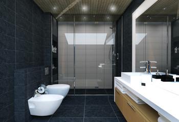 ванная в темной плитке