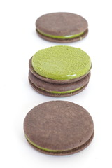 japanese maccha green tea cookies on white