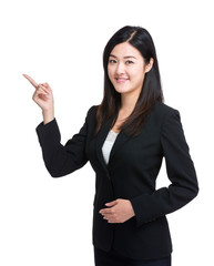 Businesswoman with finger point out