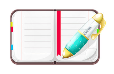 Vector Cartoon Open Notebook with Pen
