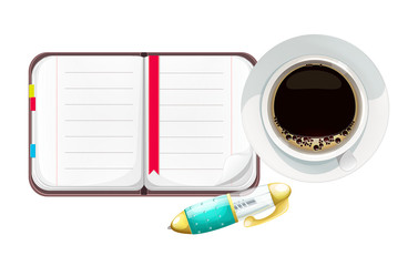 Vector Cartoon Open Notebook with Pen and Cup of Coffee