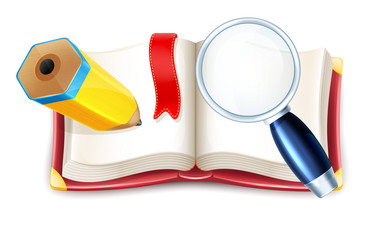 Vector Cartoon Open Book with Pencil and Magnifier