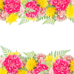 Bouquet of carnation flowers isolated for border background