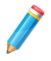 Isolated Vector Cartoon Color Pencil