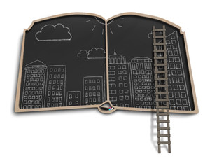 City doodles on book shape balckboard