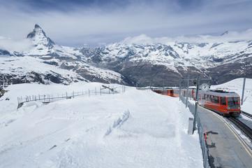 Train and mountain Matterhorn