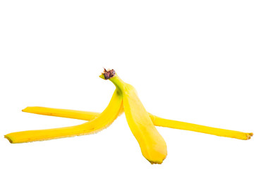 empty skin of a banana on white background