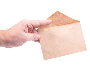 hand holding envelopes with letters on the white background isol