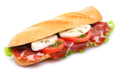 Sandwich with ham, tomato and mozzarella
