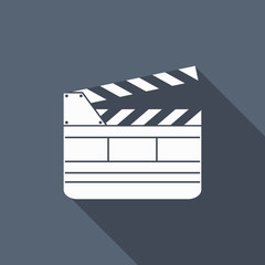 film slate icon with long shadow
