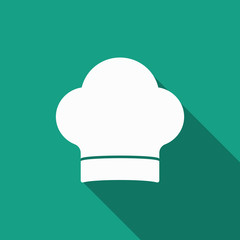 cook hat icon with long shadow
