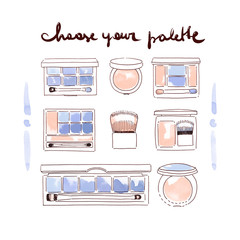 collection of make up and cosmetics illustration