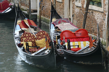 Gondolas in the canals of Venice