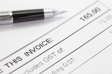 Close - up business document  invoice form