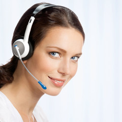 Support phone operator in headset, at office