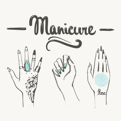 woman hands with manicure and tattoos illustration.