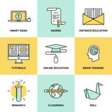 Fototapety Online education and training flat icons set