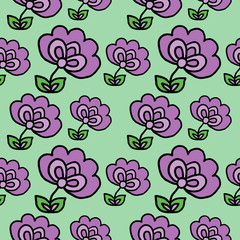 Hand Drawn Color Flowers Seamless