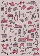 Construction Hand Drawn Color Set