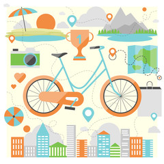Riding a bike flat illustration