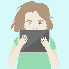 Cute girl finding inspiration with digital tablet