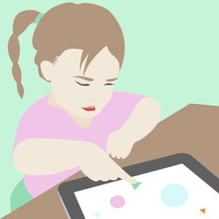 Little girl learning to use a digital tablet illustration
