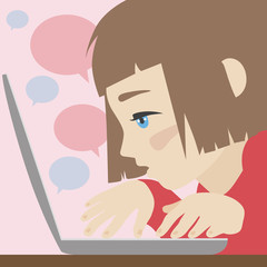 Cute girl chatting on laptop flat illustration