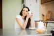 girl drinking tea in the moring