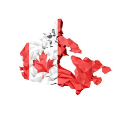 Low Poly Canada Map with National Flag