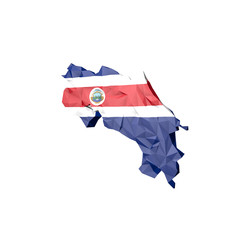 Low Poly Costarica Map with National Flag
