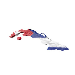 Low Poly Cuba Map with National Flag