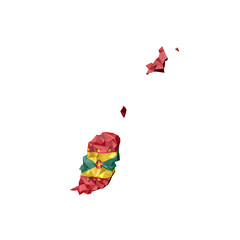 Low Poly Grenada Map with National Flag