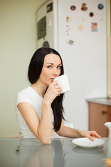 girl drinking tea in the moring