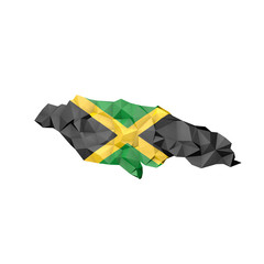 Low Poly Jamaica Map with National Flag