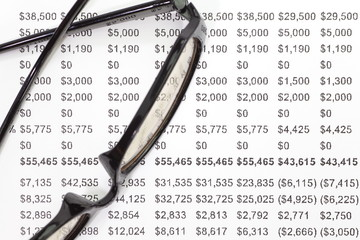 Close - up business financial chart analysis