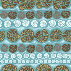 Seamless pattern with shells on a green background