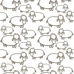 Hand Drawn Cartoon Sheep Seamless