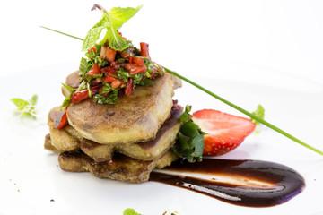 foie gras garnished with strawberries