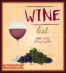Wine list retro poster