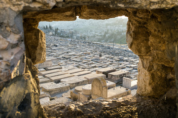 Ancient Jewish cemetery on the Mount of Olives in Jerusalem, Isr