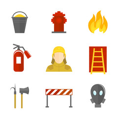 Firefighting icons flat