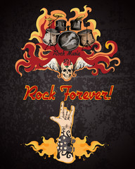 Rock music poster © macrovector