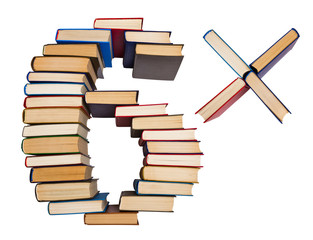 Alphabet made out of books, figures 6 and multiply