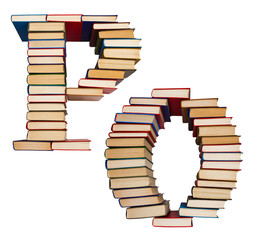 Alphabet made out of books, letters P and O