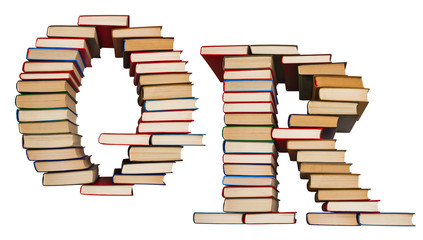 Alphabet made out of books, letters Q and R