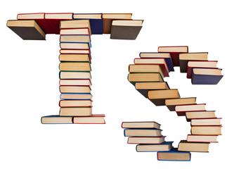 Alphabet made out of books, letters T and S