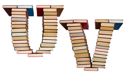 Alphabet made out of books, letters U and V